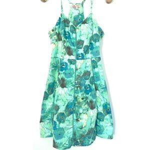 Candie's Green Floral Razor Back Sundress Sz 9
